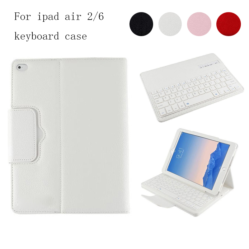 все цены на For iPad 5 / iPad 6 Magnetically Detachable ABS Bluetooth Keyboard PU Leather Case Cover For iPad Air / iPad Air 2 Air2 онлайн