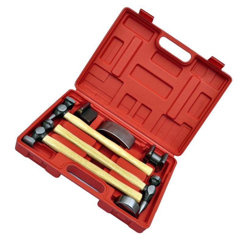 Nieuwe Stijl Generieke 7 st Auto Auto Carrosserie Body Kloppend Beater Dent Reparatie Tool Kit Hamer Set - 2