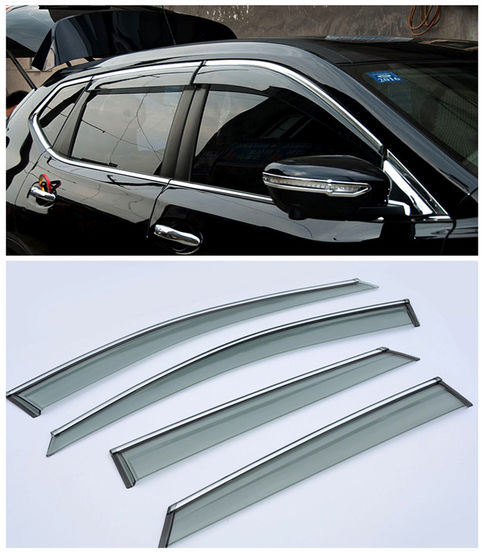 For Nissan Qashqai J11 2014 2015 2016 Car Window Visor Vent Shade Rain/Sun/Wind Guard Trim Exterior Car Parts 4pcs Accessories
