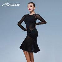 Vêtements Latine De Danse Costume Femmes à manches longues Salsa Tango Rumba flamengo Salle De Bal De Danse Robe ensemble de danse d'une seule pièce robe A345
