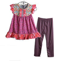 Toptan Toplu Yaz Bebek Kız Butik Giyim Seti Çocuk baskı Elbise Çizgili Fırfır Pantolon Çocuk Moda Giyim S134