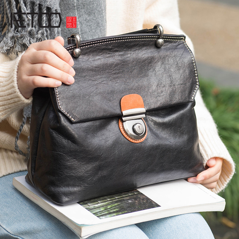AETOO Postman Bag female Leather retro casual large capacity cowhide handbag shoulder commuter female bag slant