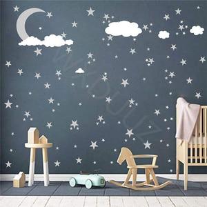 Moon stars Wall Decal Cloud Nursery Wall Stickers For kids Room Decal Nursery Art Home Decor decorative vinyl babies Mural C361