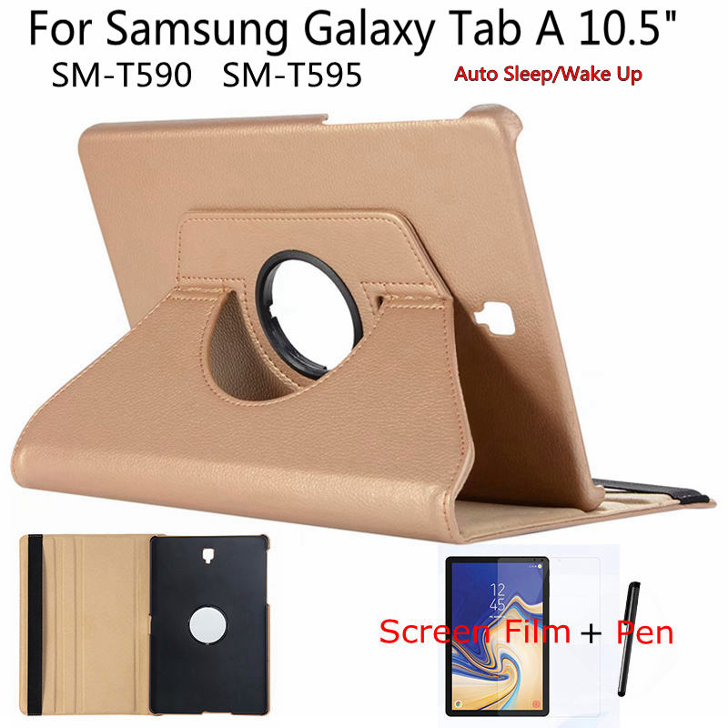 Rotating Case for Samsung Tab A A2 T590 10.5 inch Tablet, iBuyiWin Smart PU Leather Funda Cover for Galaxy T595 10.5+Film+PenRotating Case for Samsung Tab A A2 T590 10.5 inch Tablet, iBuyiWin Smart PU Leather Funda Cover for Galaxy T595 10.5+Film+Pen