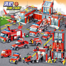 CITY FIRE FIGHT Engine Building Blocks Sets Firefighter Ladder Fire Truck Car Bricks Playmobil DIY LegoINGLs Toys for Children