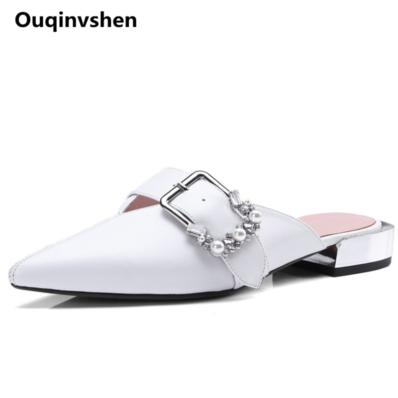 Quqinvshen Buckle Strap Crystal Summer Shoes Pointed Toe Plus Size White Consice Ladies Shoes Fashion Hollow Women Slippers new 2017 spring summer women shoes pointed toe high quality brand fashion womens flats ladies plus size 41 sweet flock t179