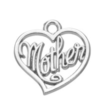 20Pcs mother on heart charms gold or rhodium plated