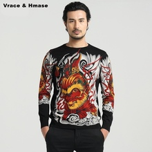 Chinese style Wukong cartoon images personalized printing men sweater 2016 Autumn&Winter new fashion quality sweater men M-4XL