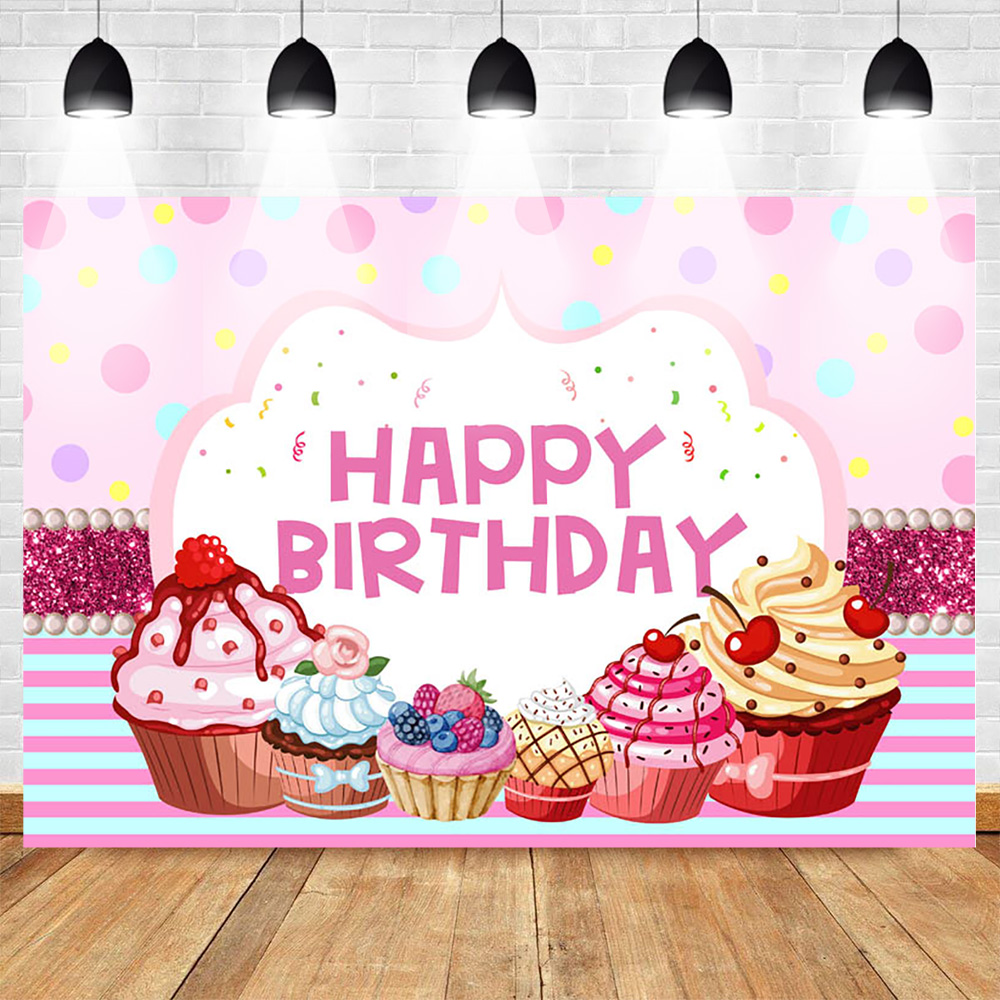 MEHOFOTO Cute Pink Ice Cream Theme Photo Studio Background Princess 2nd Birthday Cake Party Banner Photography Backdrops for Picture 7ftx5ft