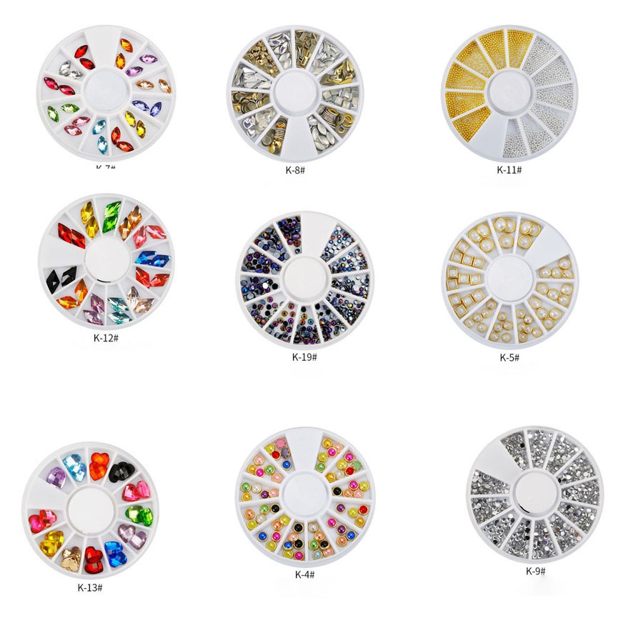 All Hot Selling Women Gold Transparent 3D Diy Nail Art Decoration Crystal Glitter Rhinestone For Nails Decal Tips Jewelry+ Wheel 2015 colorful acrylic nail glitter wheel glitter gold plated nail art jewelry women fingernail decoration supply wy165