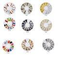 Todos los Vendedores Calientes de Las Mujeres de Oro Transparente Diy 3D Nail Art Decoración de Cristal Del Brillo Del Rhinestone Para Uñas Decal Consejos Joyería + rueda