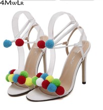 2 style pompom fuzzy ball Multi coloured sandals strappy ankle strap womens fashion wedding bridesmaid strappy pumps red white