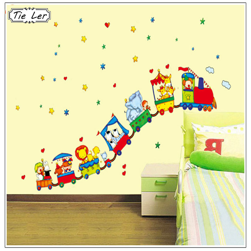 Cute Circus Animal Train DIY Removable Wall Stickers Parlor Kids Bedroom Home Decor Mural Decal