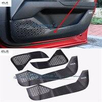 4pcs/lot for 2017 2018 MAZDA CX 5 CX5 CX 5 carbon fiber PU leather car stickers door protection kick cover car accessories