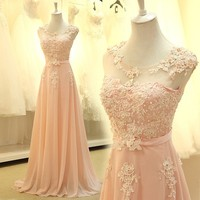 Floor Length Formal Evening Dress Gown 2016 New Elegant Pink A Line Lace Chiffon Maxi Long