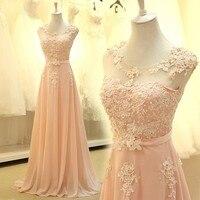 floor length formal Bridesmaid Dresses 2018 new Elegant pink A line lace chiffon maxi long dress women weddings prom party dress