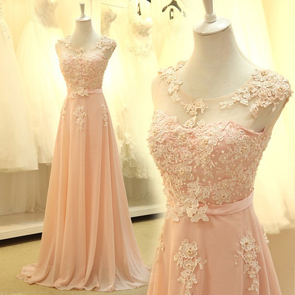 floor length formal   Bridesmaid     Dresses   2018 new Elegant pink A-line lace chiffon maxi long   dress   women weddings prom party   dress