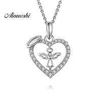 AINUOSHI Luxury 925 Sterling Silver Pendant Necklace for Women Adorable Heart Angel Long Chain Necklace Wedding Silver Jewelry