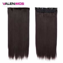 Valen Wigs 22 inches 5 Clips In One Piece Pure Color Straight Style Hair Clip On Synthetic Extensions For Women