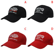 2020 New Cap Cotton Baseball Hat Unisex Adjustable Republican Red Black Hat Re-Election Keep America Great Embroidery(China)