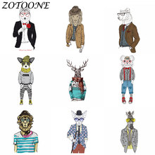 ZOTOONE DIY Iron on Patches Military Biker Morale Applique Transfer Patcch Thermo Stickers Clothes Animal Gentleman E