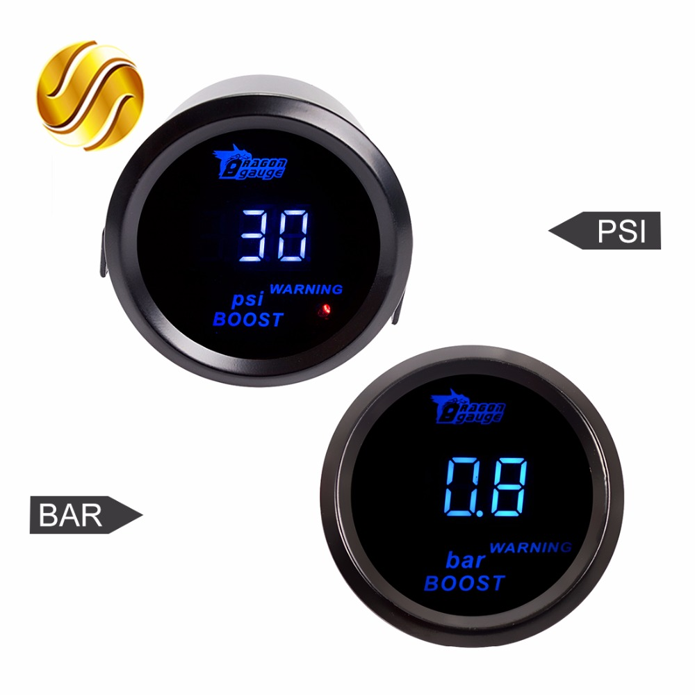 Dragon Gauge Car Gauge 2 52mm PSI / BAR Turbo Boost Gauge Car Meter Auto Blue LED Digital Display Black Rim Shell for 12V new arrive 12v 24v universal 2 52mm car motorcycle fuel level meter gauge 8 led light display drop shipping support