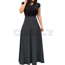 2019 New Arrival Women Fashion Summer Black Elegant Casual Party Dress Short Sleeve Polka Dots Print Patchwork Maxi Dress