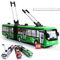 1:32 סימולציה בקנה מידה סגסוגת diecast רכב העיר חשמלית אוטובוס מזגן אוסף עם אור וקול למשוך בחזרה צעצועים לילדים מתנה