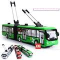 Escala 1:32 simulación de aire acondicionado ciudad tranvía bus diecast cars aleación tire volver toys con luz y sonido para los niños regalos