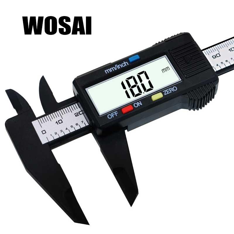 WOSAI 6-tolline LCD-digitaalne 150 mm elektrooniline süsinikkiust Vernier kaliibriga mikromeeter