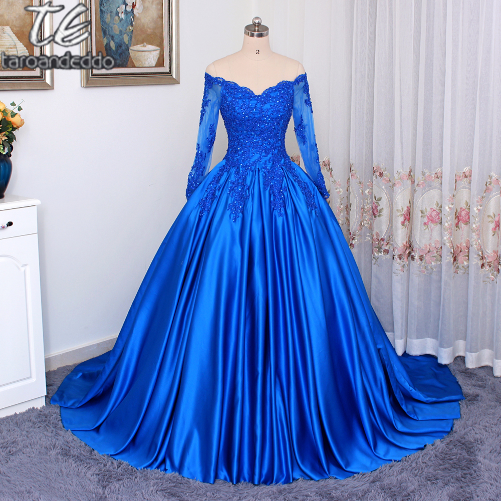 Off the Shoulder V-neck Royal Blue Ball Gowns   Prom     Dress   Applique Lace Matte Satin Long Sleeves Evening Gowns Customized