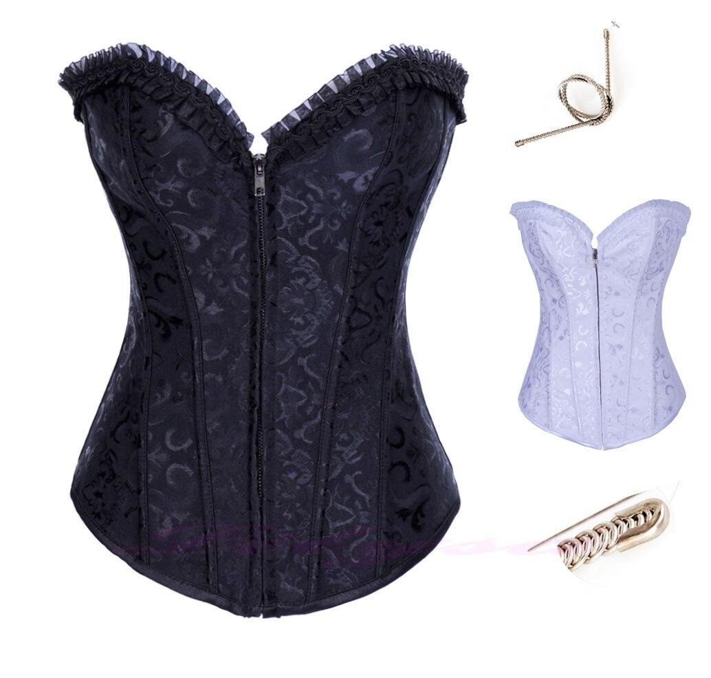 Corsets   and   bustiers   tops sexy women green brocade   corset   zip vintage style corselet overbust ladies Steel Bones