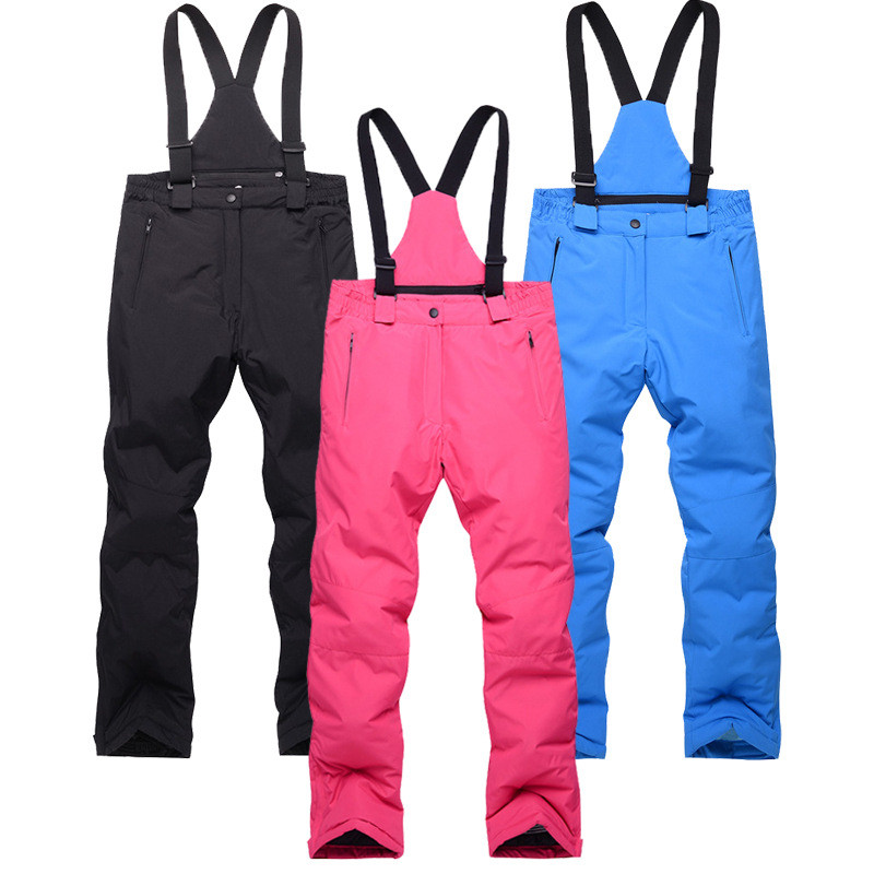 Chlid Candy Color Warm Adjustable Straps Solid Waterproof  Winderproof  Winter Outdoor Pant High Quality Colorful Snowboard Pant