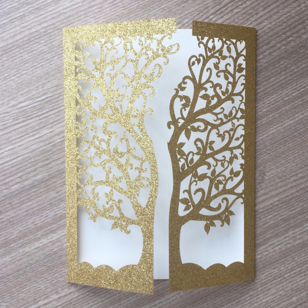 Laser Cut Gold Platinum: 30pcs Glitter Gold Silver Paper Laser Cut Tree Inviting