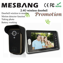 2017 hot new  black color 2.4G wireless video doorbell wireless door video intercom phone 7 inch monitor  easy to install