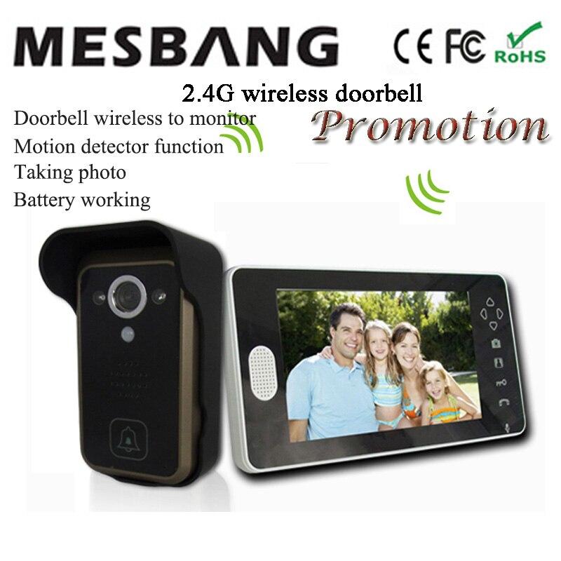 2017 hot new black couleur 2.4G sans fil vidéo sonnette sans fil de porte vidéo interphone téléphone 7 pouce moniteur facile à installer