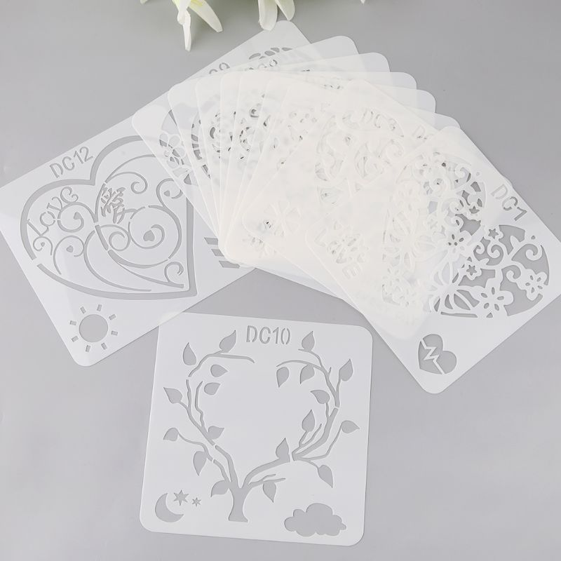12Pcs Flower Heart Drawing Molds Plastic Children Painting Stencils DIY Paper Art Craft Card Label Scrapbook Bookmark Educationa