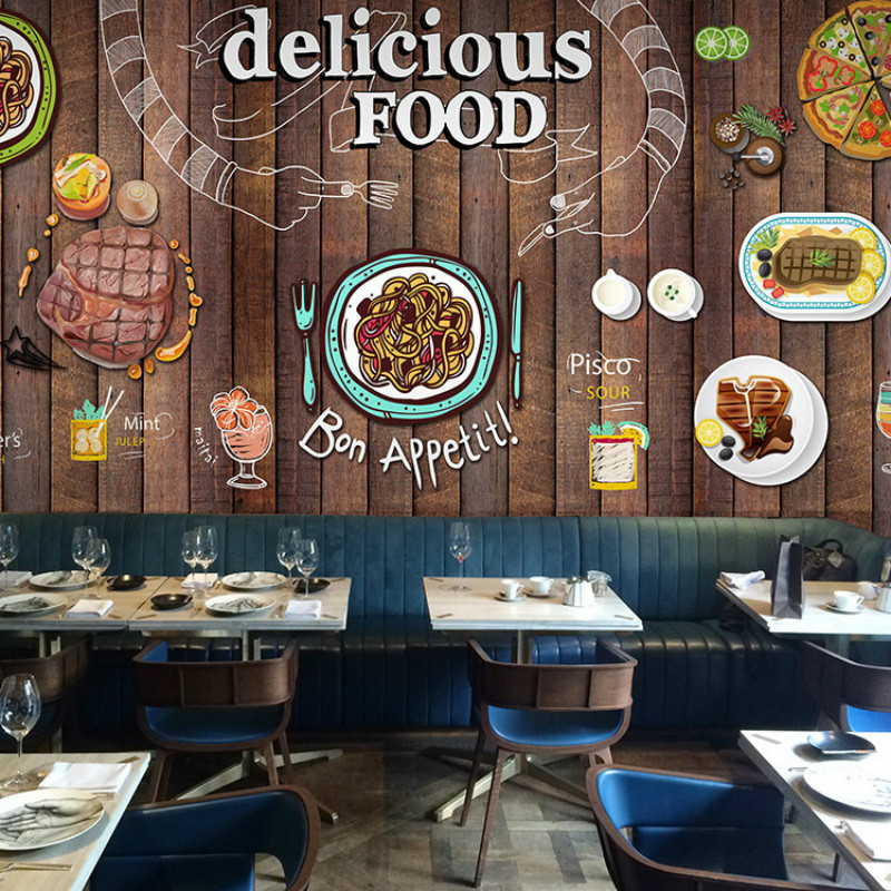 Buy custom 3 d pasta pizza wood 3d for Cafe mural wallpaper