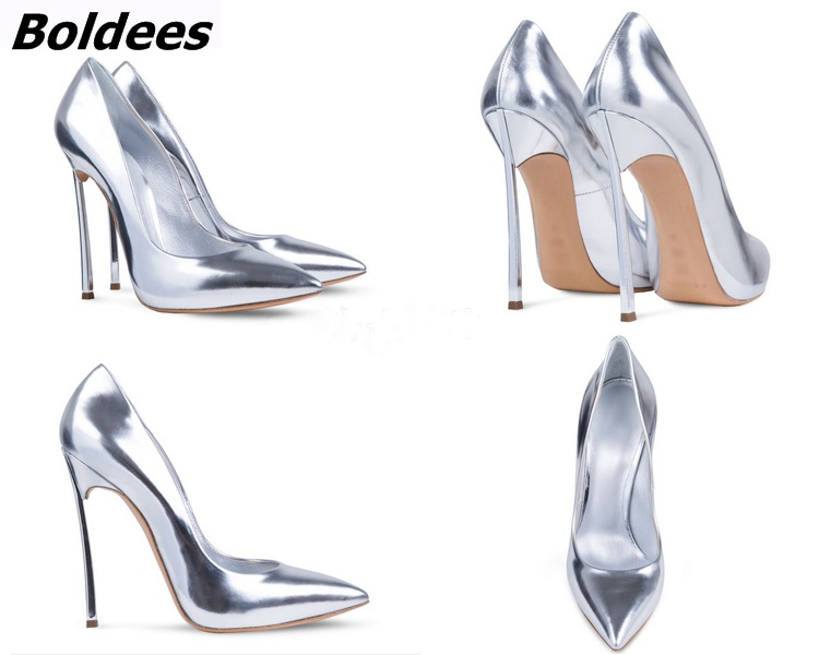4382cd6d105 Boldees Sexy Women Stilettos Pointed Toe Shoes Fancy Metal Thin Heel Work  Pumps Girls Slip on High Heels Nightclub Dress Shoes