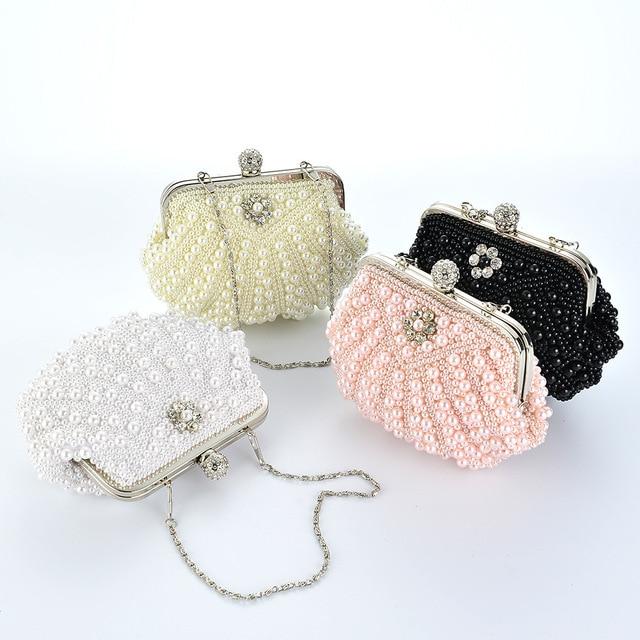 Beading soft pearl bag women's evening handbag fashion day clutch small handmade bride and bridesmaids wedding purse