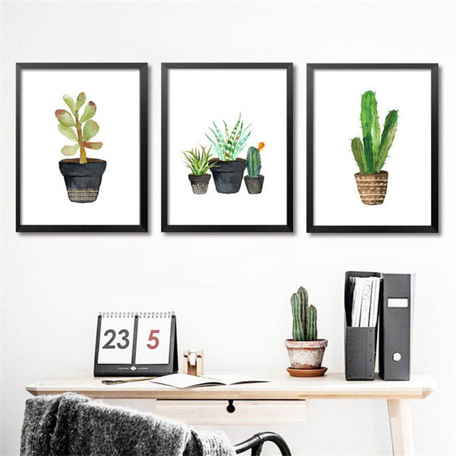 Cactus Photo Nordic Poster Cacto Decorativo Wall Art Canvas Painting ...