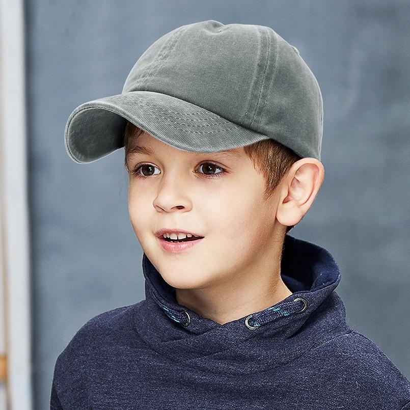 GEMVIE Baseball Cap Kids 2-8 years Toddler Washed Snapback Cap For a Boy Girls Solid Color Denim Children Summer Sunhat