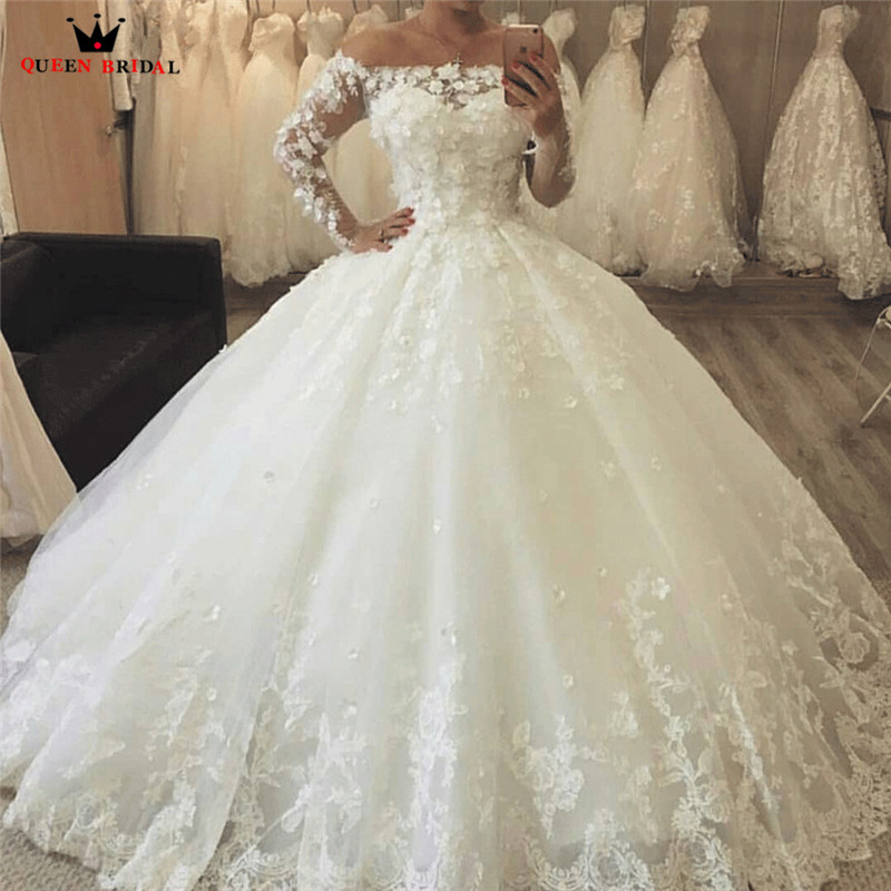 2019 Ball Gown Puffy Tulle Lace Vintage Wedding Dress Vestidos De Novia Custom Made Marriage Women Bridal Gown HC34