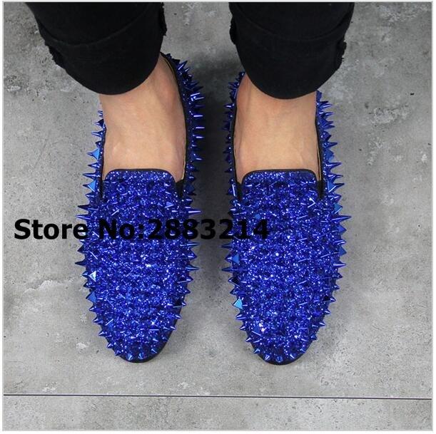 Blue Shinny Crystal Men Oxfords Shoes