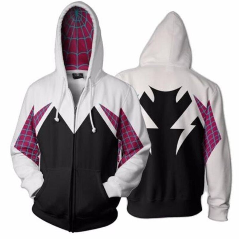Spider Gwen Spiderman 3D Print Hoodies Sweatshirts Casual Jacket Coat Cosplay