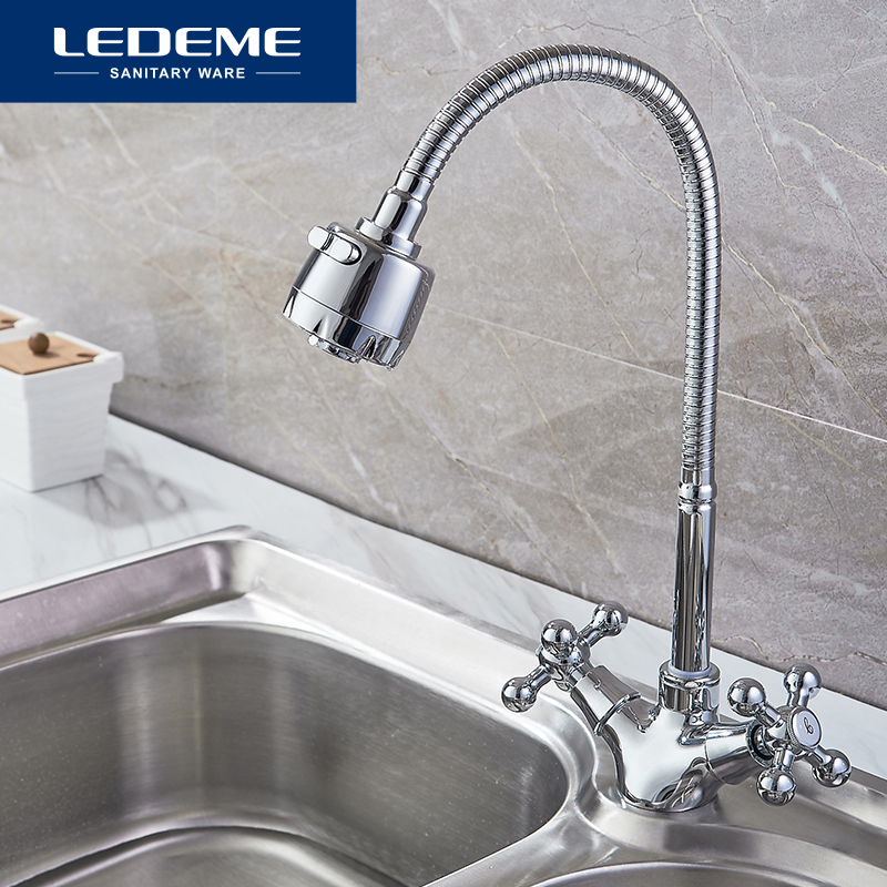 LEDEME Kitchen Faucet Dual Holder and Two Kinds of Water Way Outlet Pipe Tap Basin Plumbing Hardware Brass Sink Faucet L4319-3 kitchen faucet rotation rule shape curved outlet pipe tap basin plumbing hardware brass sink faucet