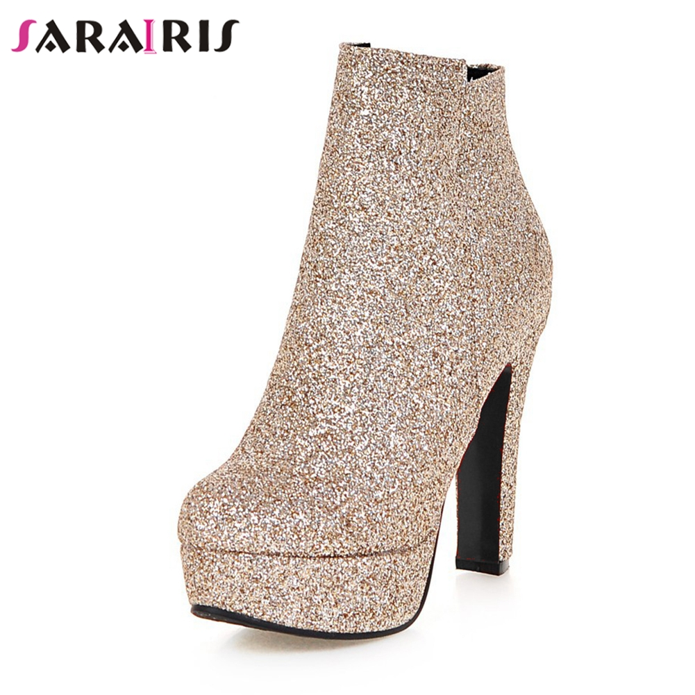 Kcenid Glittering pointed toe side zipper silver fashion boots bling high  heels wedding platform shoes woman winter ankle boots b4577530a74e