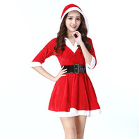 Fashion Christmas Costume with Hat Santa Claus Dress Christmas Clothes for Girls Red Skirt