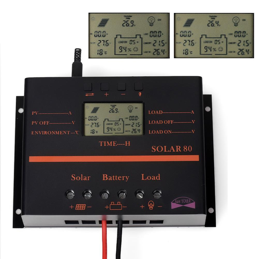 ФОТО 80A 12V-24V LCD Solar Charge Controller With USB Fit Solar Battery Panel Regulator Discharge APJ