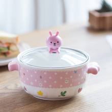 Instant noodle bowl creative cartoon lovely pink tender instant noodles and cover can be used as a mobile phone stan